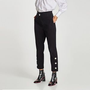 ZARA High Waist Trousers with Metal Appliqués